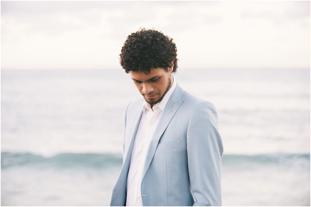Moffat Beach Grrom blue suit Sunshine Coast