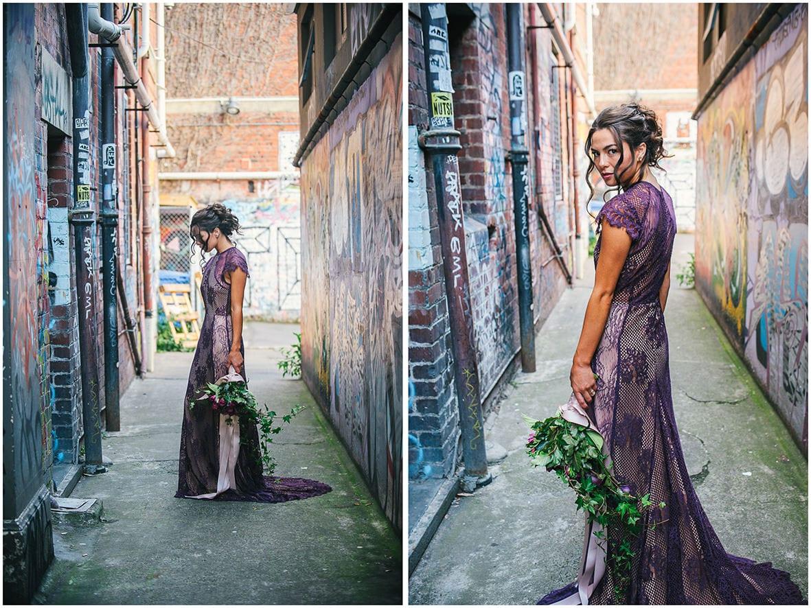 Wellington Bride Purple dress alley way-2