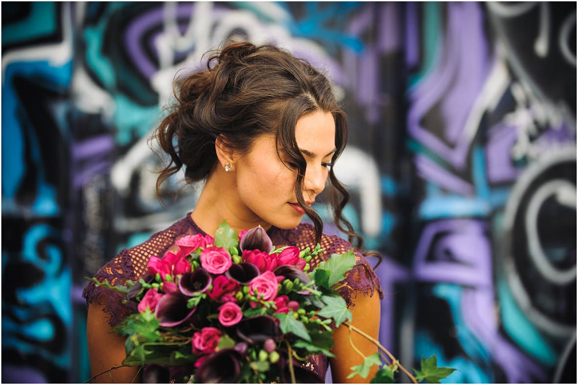Wellington Bride Purple dress flowers