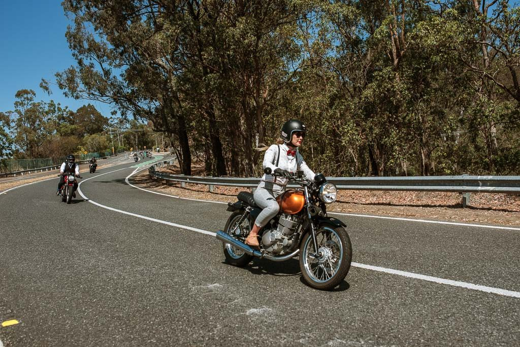 Mt Cootha lady motorbike rider Distinguished Gentlemen's Ride Brisbane 2019