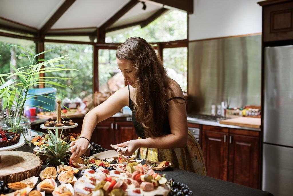 Sarah preparing food for her friends Wedding afternoon tea