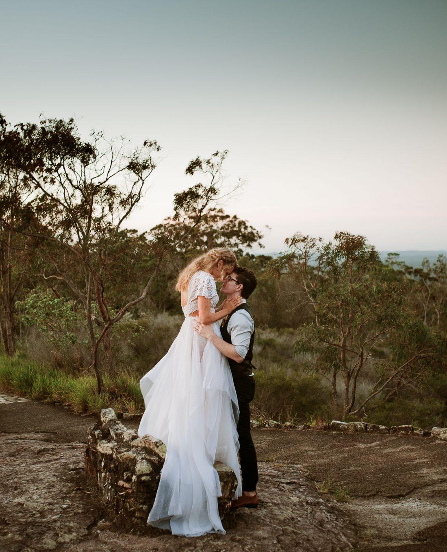 Sunshine Coast Mountain Top Married Couple Embracing Photographed by Terri Hanlon Photography