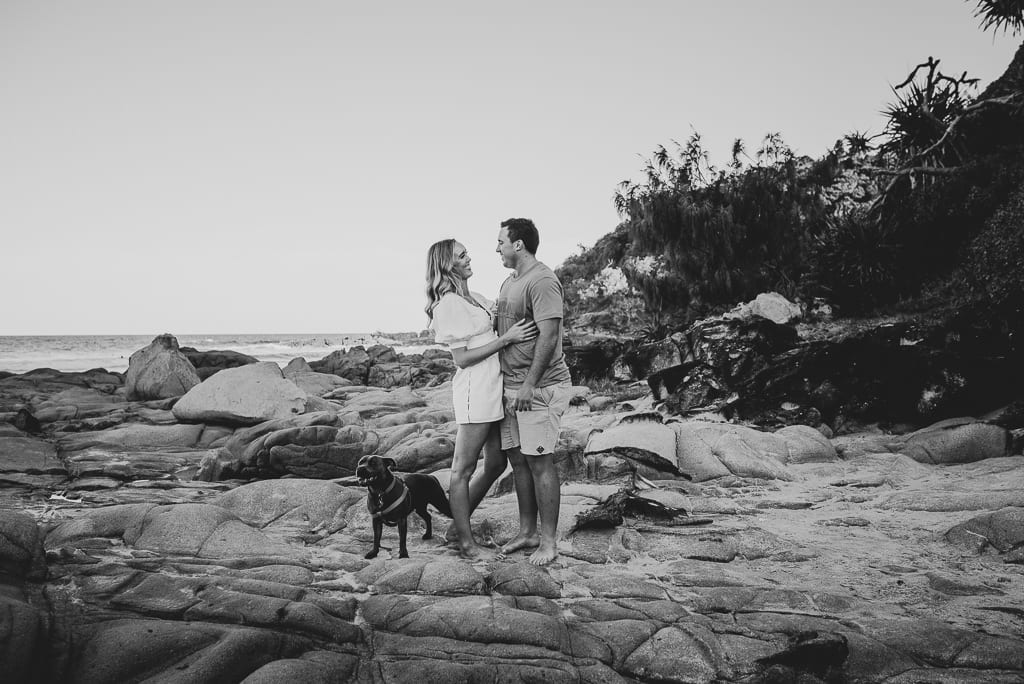 Couple and their dog at First Bay Coolum