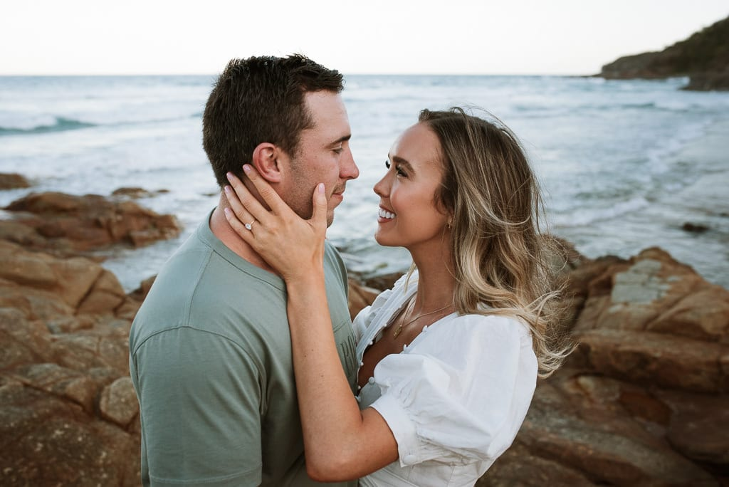 Couple about to kiss on the Sunshine Coast