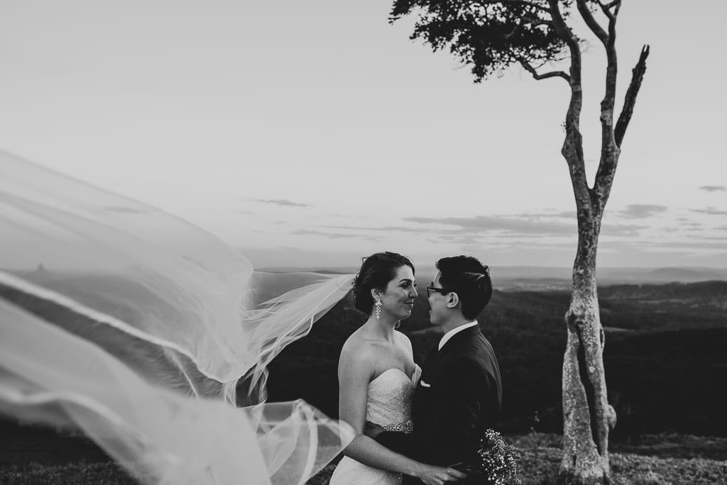 Terri Hanlon Photography - couple embraced at One Tree Hill Maleny