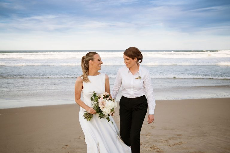 Beach portrait Same-Sex Micro Wedding Bridal Shoot on Peregian Beach, Sunshine Coast