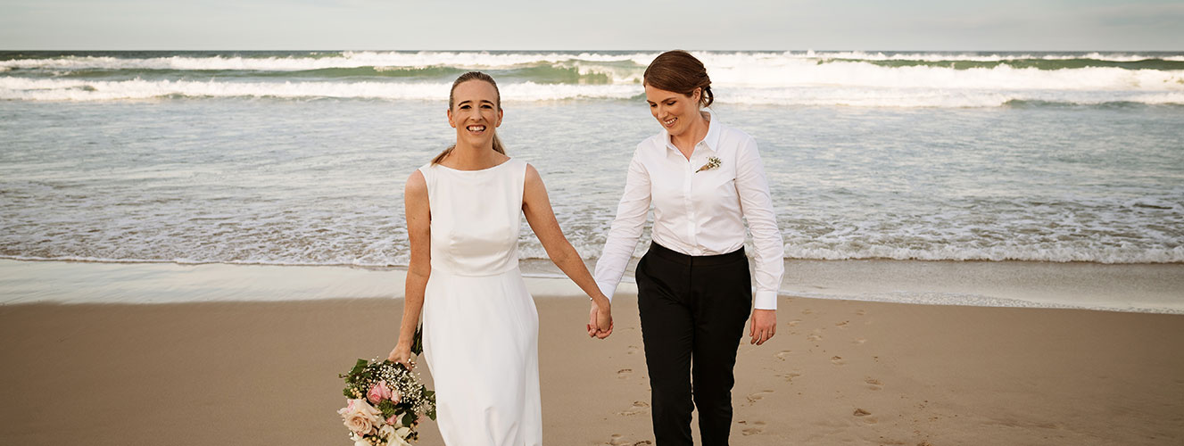 Same Sex Wedding on the Beach of the Sunshine Coast