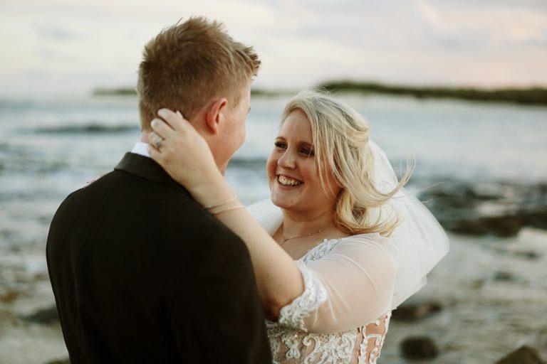 Beach portrait Backyard Micro Wedding Bridal Shoot in Caloundra Beach, Sunshine Coast